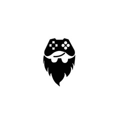 console gamer and beard smile face symbol gaming vector image