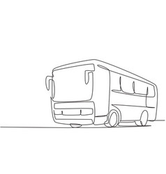 continuous one line drawing express buses vector image