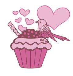 Cupcake bird in love vector