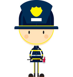 Cute cartoon fireman character vector