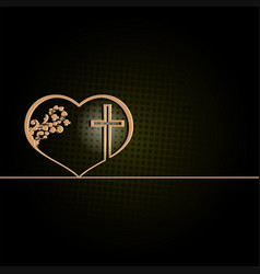 dark green design with heart and cross vector image
