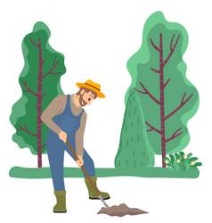 Farmer digging ground using spade on field garden vector
