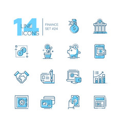 finance - coloured modern single line icons set vector image