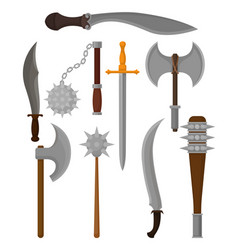 flat set of old weapon battle axes knight vector image