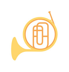 french horn instrument on white background vector image