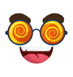 funny face glasses vector image