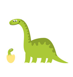 Funny of a dinosaur with her child vector
