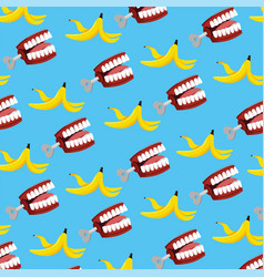 Funny teeth with banana to fools day background vector