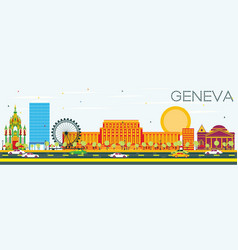 Geneva skyline with color buildings and blue sky vector