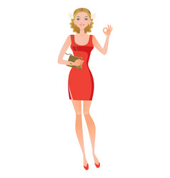 girl in burgundy dress shows sign of approx vector image