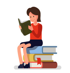 Girl love to read books vector
