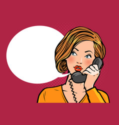 Girl or young woman talking on phone vector