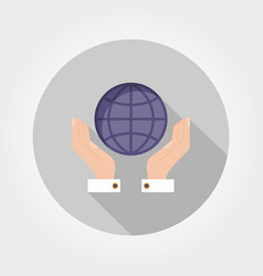 globe in hands icon flat vector image