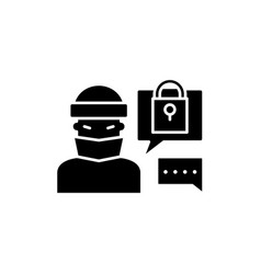 hacking access system black icon sign on vector image