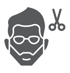 haircut glyph icon barber and hairstyle bearded vector image