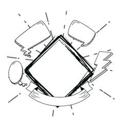 hand draw elements cartoons vector image