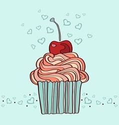 Hand drawn of cupcake with cherry vector
