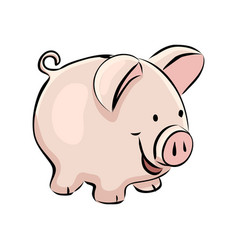 hand drawn piggy bank vector image