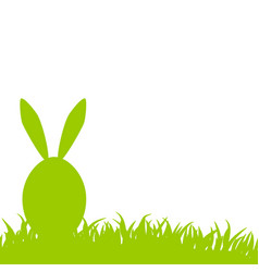 Happy easter green egg with bunny ears on grass vector