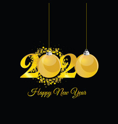 Happy new year 2020 with christmas ball in gold vector