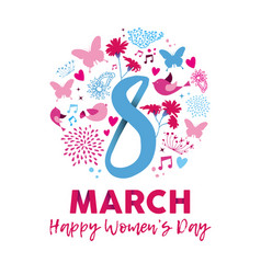 happy womens day 8th march floral decoration card vector image