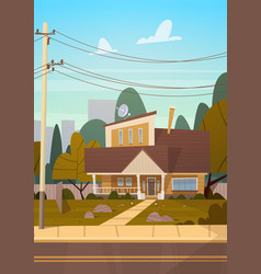 House building suburb of big city in summer vector