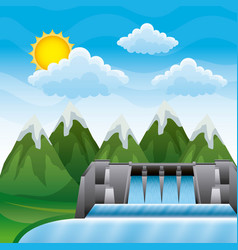 Landscape mountains with dam hydroelectric energy vector