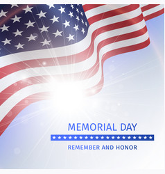 Memorial day poster with the flag of the usa vector