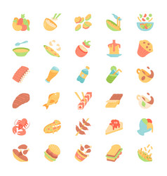 Menu dishes flat design long shadow color icons vector