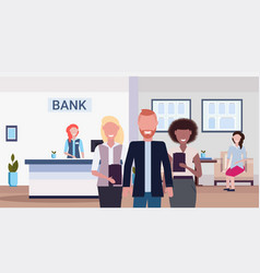 mix race colleagues smiling banking managers vector image