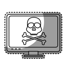 Monochrome contour sticker with lcd monitor with vector