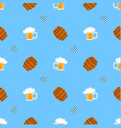 mug beer with foam wooden barrel for wine vector image