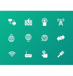 Networking icons on green background vector