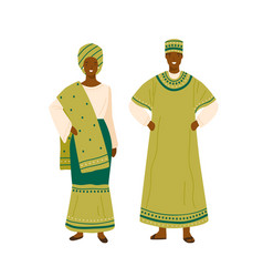Nigerian couple in colorful traditional apparel vector