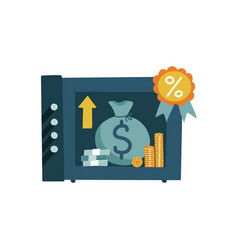 open bank safe dollars coins and bag in a deposit vector image