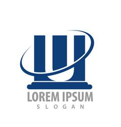 Pillar letter u concept design symbol graphic vector