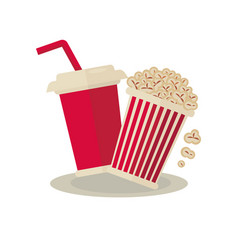 Popcorn carton bowl and soda takeaway on white vector