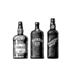 Port and madeira wine bottles vector