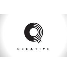 q logo letter with black lines design line letter vector image