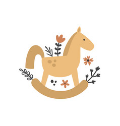 Rocking horse and flowers vector