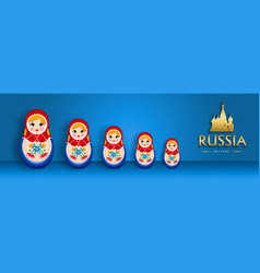 Russian doll web banner for special russia event vector