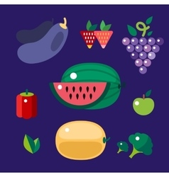 Set of colorful cartoon fruit icons vector