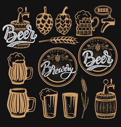 Set of elements for beer labels design beer mugs vector