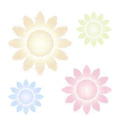 Set of halftone sun shapes vector image