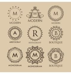 Set of simple and elegant monogram designs vector