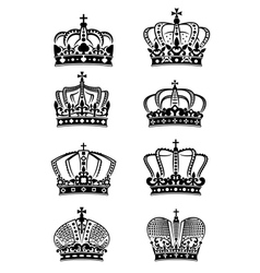 Set of vintage heraldic royal crowns vector image