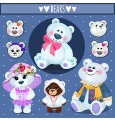 set white teddy bears big family vector image
