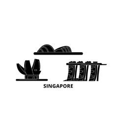 Singapore flat travel skyline set singapore black vector