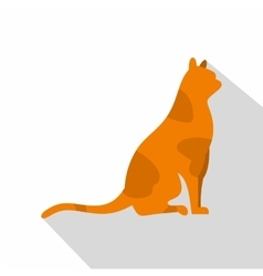 Sitting cat icon flat style vector