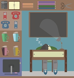 Sleeping person at work and some office things vector image vector image